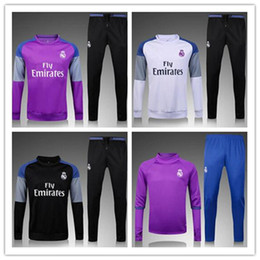 Wholesale 3A Best quality Real Madrid soccer tracksuit chandal football Tracksuit training suit skinny pants Sportswear best quality