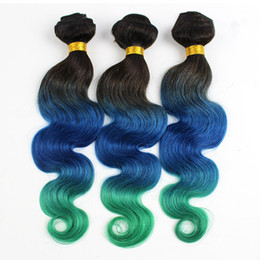 8A Grade Three Tone Peruvian Body Wave Ombre Hair 3 Bundles #1B Blue Green Human Hair Weaves Wavy Extensions