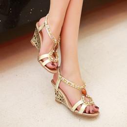 Sheepskin genuine leather 2018 Large size 33-43 sweet wedge heel T-tied rhinestones open toes slip-on roman shoes women sandals WV&H06-19