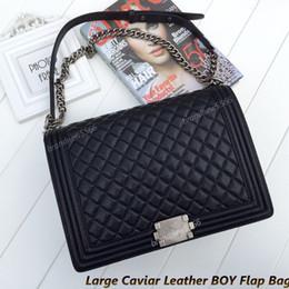 Chaîne grand sac en Ligne-Vente en gros Gros Caviar Cuir Boy Flap Sac 30cm Femmes Véritable Cuir Sacs à bandoulière avec Agate Argent Hardware Chain Flap Bag