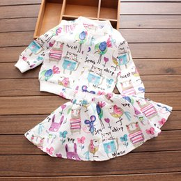 Wholesale 2016 Spring and autumn next Cartoons graffiti Girls clothing with long sleeves Brands Sports Toddler Suits Jacket Skirt