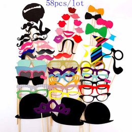 58 Pcs Photo Props Glasses Mustache Lip Hold Stick Wedding Birthday Party DIY Masks Fun Favor Gift Stick Christmas Party