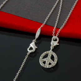 10pcs lot Free Shipping 925 sterling silver fine chain w  Peace sign pendant-Necklace Fashion Silver Necklace