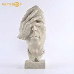 Wholesale New product ideas Home Furnishing resin crafts home decoration human head sandstone sculpture No looking pattern high grade