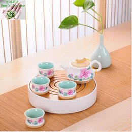 Wholesale Hot Sale with High quality set white ceramic tea sets portable travel round home tea pot with bamboo tea tray