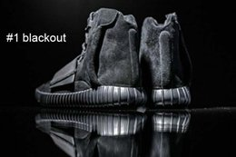 Wholesale New Kanye West s Boost Sneakers Men Women Leather Zip Ankle Boots fashion shoes blackout best s