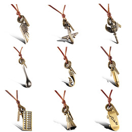 Wholesale Mixed order Restoring ancient ways Leather cord bronze pendants necklaces unisex jewelry