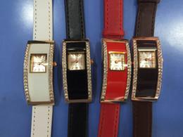 Popular Fashion Brand Women's Girl's crystal Rectangle style dial Leather strap quartz wrist watch