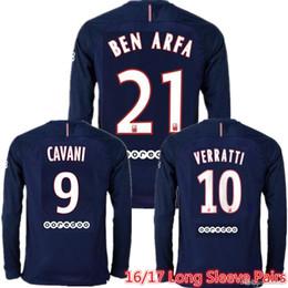 Wholesale Whosales PsG Soccer Jerseys Paris Football Jersey verratti CAVANI Soccer long sleeve DI MARIA Discount Ben Arfa T SilvaTOP Thai Quality