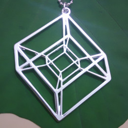 wholesale Hypercube Gold Silver plated Geometry necklace - Tesseract - math gift With 50cm chain free shipping