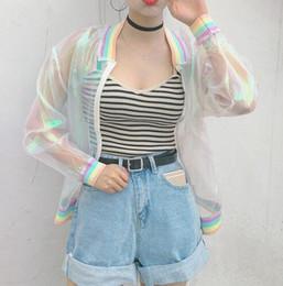 Wholesale Teen Girls Yarn Cool Laser Symphony Sunscreen Sun Proof Bat Sleeve Jersey Jacket Clear iridescent transparent coat rainbow