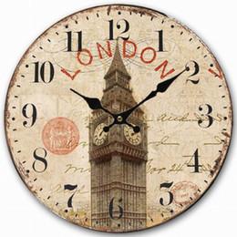 Wholesale Retro Vintage Style Large Clock UK London Big Ben Clock Home Decorative Wall Clock Wood CM