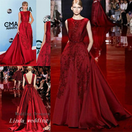 Robe rouge en Ligne-2017 Burgund Elie Saab Robe du soir Elegant Long Backless tapis rouge Prom Party Dress Robe d'événement formel Plus Size vestido de festa longo