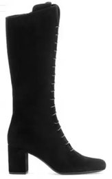 2017 new fashion boots lace up pointed toe chunky heels winter women Knee High Boots boots Roman women shoes botas