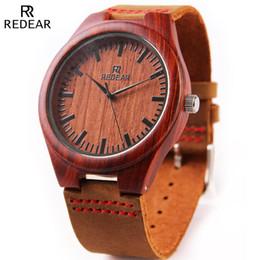 REDEAR Red Sandalwood Wooden Watches Men Luxury Japan Movement Quartz Watch Cowhide Leather Wood Wristwatch Relogio