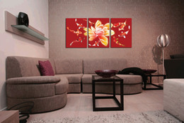 Home decoration unframed 3 Pieces art picture free shipping Canvas Prints Lotus fish chinese characters Cartoon flower Couple couples tea