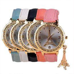 Hot Unique Quartz Wrist Watch for Women with Eiffel Tower Pendant Rhinestone Dial Analog