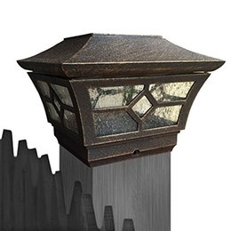 Wholesale CHEEKON BE Solar Cast Aluminum LED Post cap Light Bronze Crystalline Solar Panel Rechargeable Battery Included