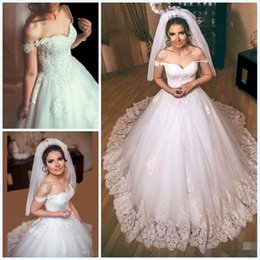 2019 Charming Off The Shoulder Corset Wedding Dresses With Crystal Appliques Court Train Church Bridal GownNovias De Vestidos For Arabic