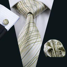 Mens Accessories Tie for Men Yellow Striped Pattern Silk Silver Necktie Ties Set Hanky Handkerchief Cufflinks Neck Tie Set N-1173