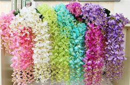 Artificial Wisteria Flower Rattans 12pcs 110cm 70cm silk Wisteria flower Vined for wedding Christmas Decorative Vines flowers