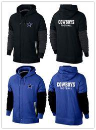 Wholesale winter fashion Dallas cheap cowboys American football hoodies fashion black red royal blue navy blue men Sweatshirts size M XL