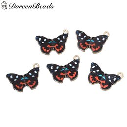 "Zinc Metal Alloy Charms Butterfly Animal Light Golden Black Enamel 20mm( 6 8"") x 15mm( 5 8""), 10 PCs 2016 new Free shipping jewelry making"