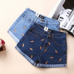 Wholesale 2016 Summer Women Korean fruit pineapple banana carrot fresh Oufan children embroidery was thin denim shorts pants