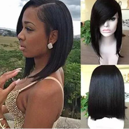"""7A Grade Product 8""""-16"""" 100% Brazilian Human Hair Lace Front Bob Wig With Side Bangs Silky Straight 130 Density 8 inch Natural Black"""