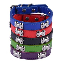 Wholesale 10pcs Personalized Pu Leather Dog Collar Bone Shaped Studded Dog Accessories Small Teddy Pet Dog Supplies Mixed Colors