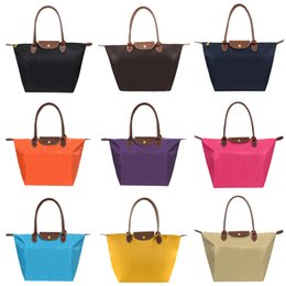 Wholesale Smallwholesales Colors Middle Size Summer Beach Dumplings Bags Waterproof Nylon Handbag Plain Shopping Bag Foldable Tote Bags