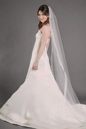 Hot Amazing Best Selling One Layer Applique Egde Romantic mantilla veil chapel White Ivory Meidingqianna Brand