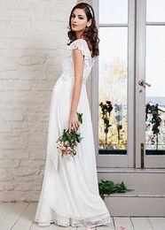 2017 pregnant beach wedding dress short sleeves Lace maternity wedding dress chiffon V Neck wedding gowns