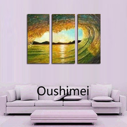 Wholesale Hand painted Wall Beauty Landscape Home Decor Modern Seascape Oil Painting On Canvas Hang Picture No Framed Group Of Paintings