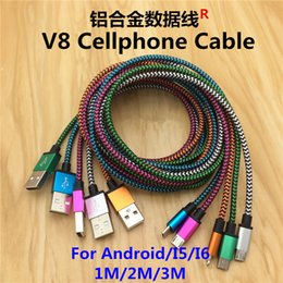 Wholesale 10FT3M FT2M FT1M Micro Usb V8 Cable Fabric Braided Wire Data Sync Cloth Woven Fiber Knitted Nylon Cords For Samsung GalaxyS4 S5 Note4