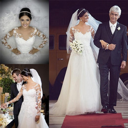 New Designer Lace Appliques Wedding Dresses Summer Boho Long Sleeves Arabic African Style A-line Sweep Train Bridal Gowns