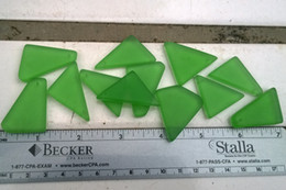 "Bulk Lot 1.5"" Large Apple Green Beach Sea Glass Beads Drilled Jewelry Necklace Pendant Earring Decor JCT ECO®"