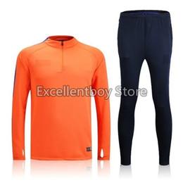 Wholesale Thailand quality16 season whole orange sweater tracksuit set soccer training suit