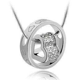 Korean Fashion Charm Bridal Jewelry 18KRGP Women Austria Crystal Pendant Necklace Female Korea Trendy Jewelry 1686