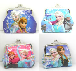Wholesale 2016 special offer a clearance Baby girls Frozen purse Elsa Anna cartoon wallet change pocket Button bag Christmas gift