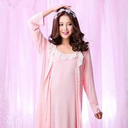 Wholesale Robes For Women Sleepwear Set Bamboo Fiber Pyjamas Ladies Sling Robe Princess Dressing Gown Lounge Pajama Piece Robe Sets