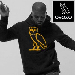 Wholesale Winter OVO Owl hoodies Pullover mens OVOXO Gold printed hooded sweatshirt sportswear drake ovoxo shirt hoodie thick