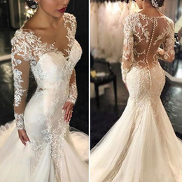 2016 Vintage Mermaid Wedding Dresses Sheer Neck Illusion Long Sleeves Lace Applique Sexy Back Bridal Dresses Court Train Wedding Gowns