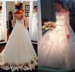 Elegant Off Shoulder Lace Wedding Dresses with Long Sleeves 2016 Winter Spring Modest Western Country Church Bridal Gowns Vintage Beaded