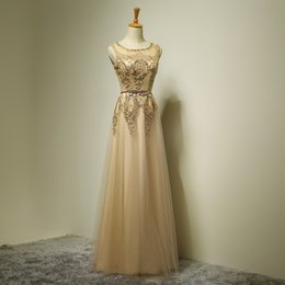 Beaded Long Lace Tulle Evening Dress With Pearls Rose Gold 2016 Scoop Neck Evening Gowns New Robe De Soiree