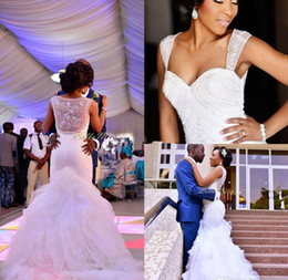 2016 Sweetheart Chapel Train Ruffles Cheap Bridal Gowns Custom Made Modest Vintage Ruffle Lace Organza See Through Wedding Dresses Foraml