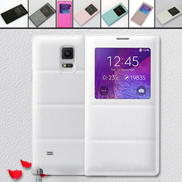 View Window PU Leather Flip Case House Battery Cover For Samsung GALAXY Note 4