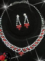 red crystal diamond tassels bride wedding set necklace earings hte