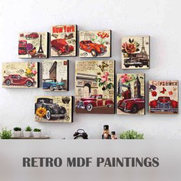 Wholesale Vintage Wooden Wall Paintings And Creative Cafe Home Soft Decoration Backdrop Mural Wall Decoration Hanging Bar Photo Frame Wooden GJ43