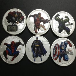 Wholesale 6 set Mix designs Marvels Hollywood Batman Captain Spider man Hulk Thor iron man silver plated colored coin set